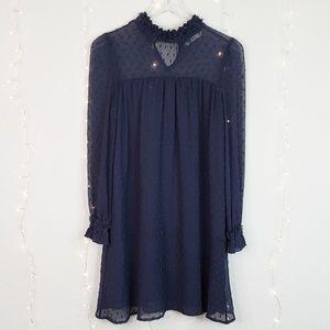 Zara | Navy Semi Sheer Swiss Dot Mini Dress